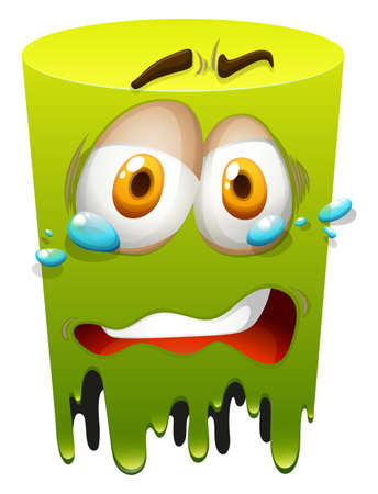 green face: Crying face on green illustration Illustration