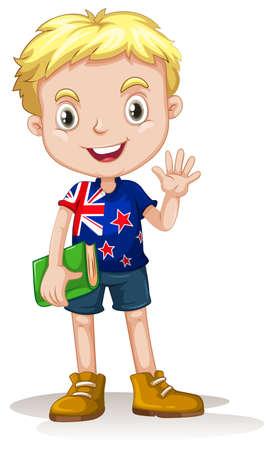 newzealand: NewZealand boy carrying a book illustration Illustration