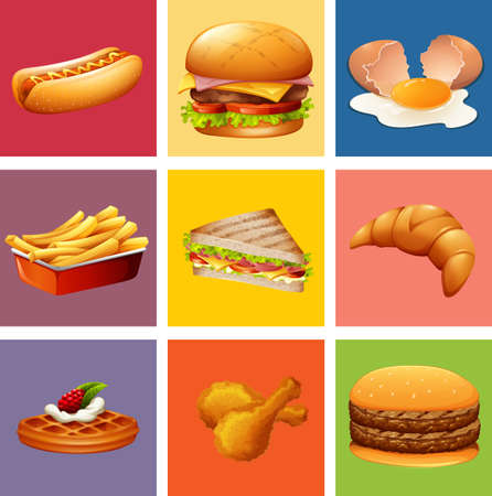 fried: Different kind of food and dessert illustration Illustration