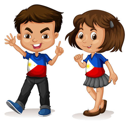 cartoon kid: Philippines boy and girl greeting illustration