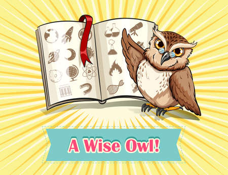 saying: English saying a wise owl illustration