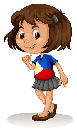 philippine: Philippine girl smiling on white illustration