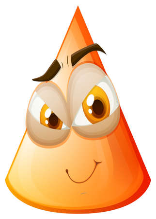 shapes cartoon: Orange cone with face illustration