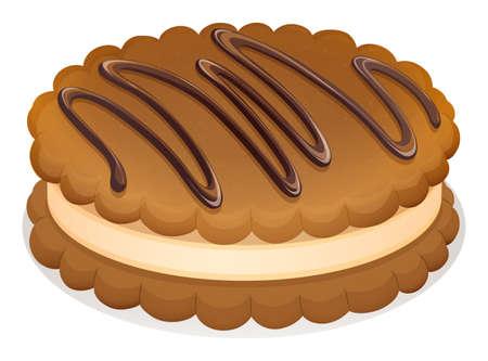 galleta de chocolate: Galletas de chocolate con crema de ilustración