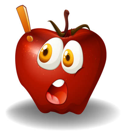 shocking: Shocking face on apple illustration Illustration