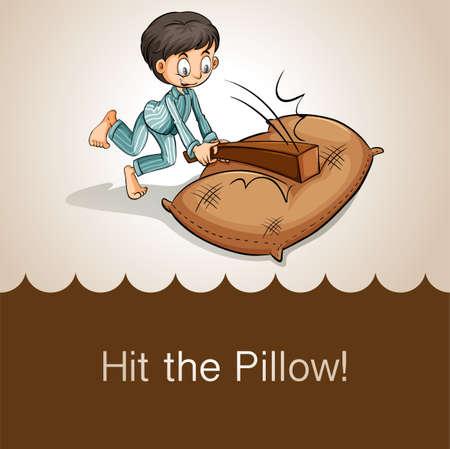 idiom: Idiom hit the pillow illustration
