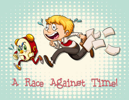 against: Idiom race against time illustration