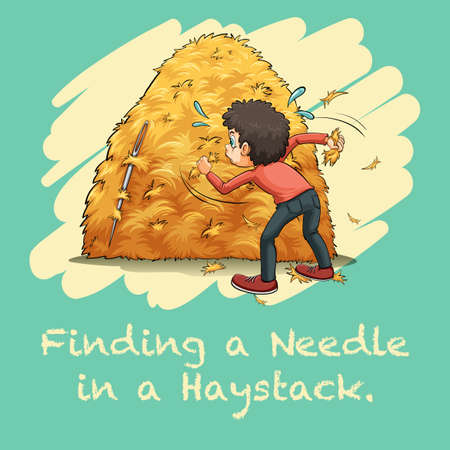 Idiom finding a needle in a haystack illustration