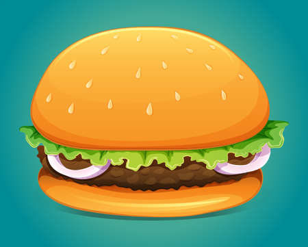 vegetable fat: Hamburger with meat and veggie illustration