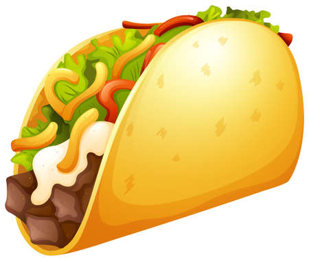 crunchy: Beef taco with vegetables illustration