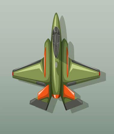 jet engine: Green military fighting jet illustration Illustration