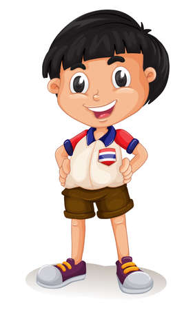 boy shorts: Happy Thai boy standing illustration