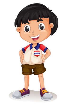 niño de pie: Niño tailandés feliz ilustración de pie