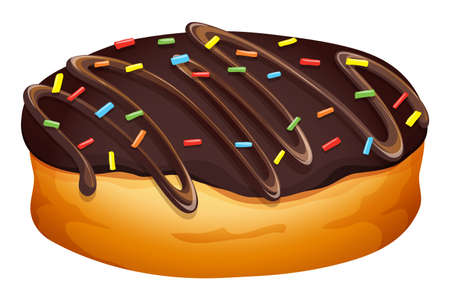 frosting: Doughnut with chocolate frosting illustration