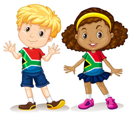 Garçon et fille d'Afrique du Sud, illustrations
