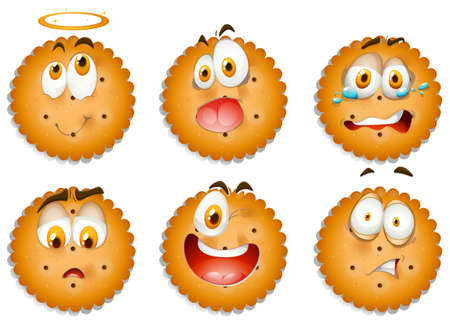 shocking face: Cookies with facial expressions illustration