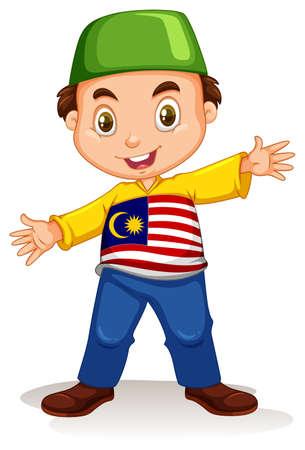teen boy: Malaysian boy wearing shirt and pants illustration