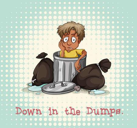 pobre: Idiom abajo en la ilustración vertederos Vectores