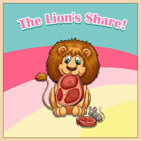 idiom: Idiom the lion share illustration Illustration