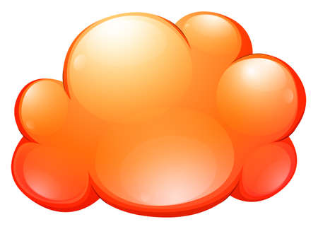 fluffy clouds: Orange cloud on white illustration