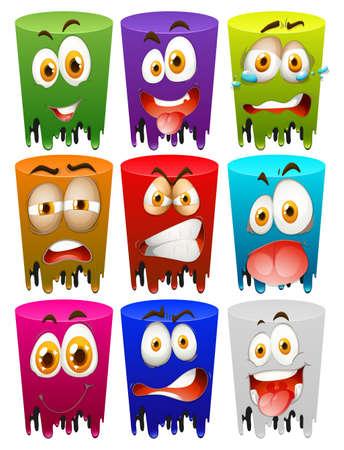 facial expression: Facial expression on color tubes illustration Illustration