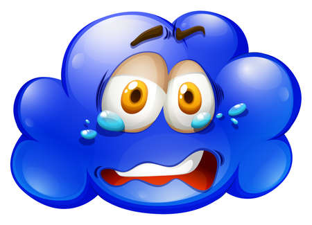 sad: Blue cloud with sad face illustration Illustration
