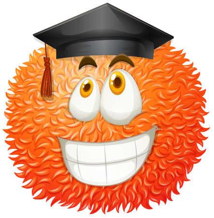 Fluffy bal met graduation cap illustratie