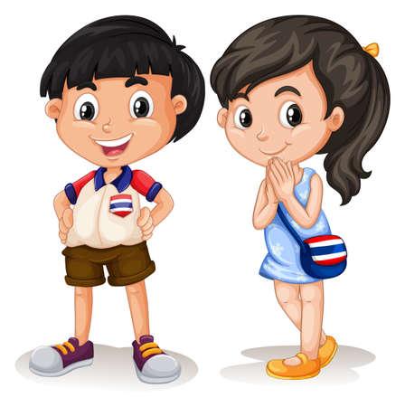 ni�os chinos: Ni�o tailand�s y sonriente ni�a ilustraci�n Vectores