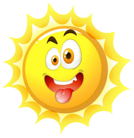 funny pictures: Silly face on the sun illustration Illustration