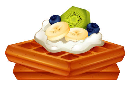 Waffle with cream and fruits illustration Illustration