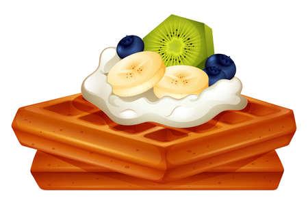 waffle: Waffle with cream and fruits illustration Illustration