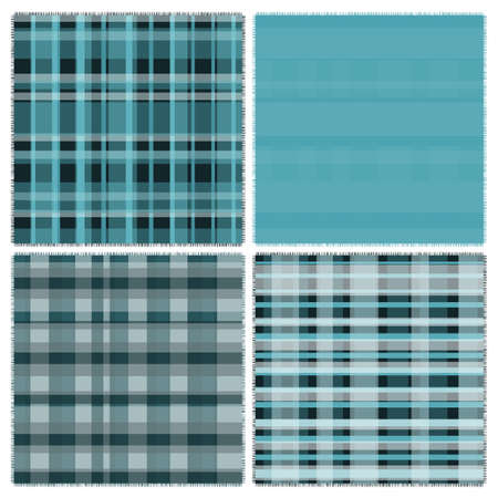 scot: Four pattern of blue patches illustration Illustration