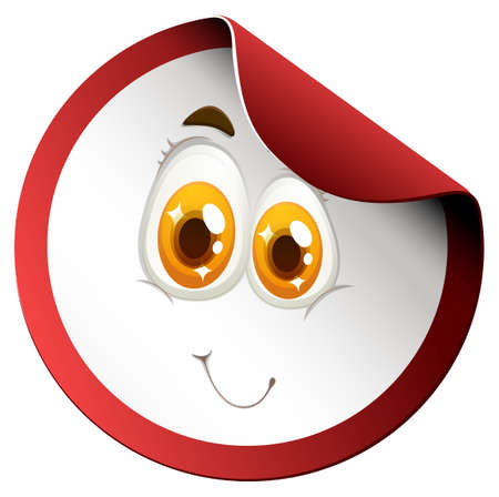 red eye: Round sticker with face illustration