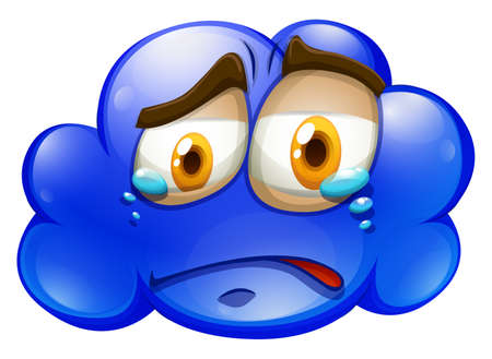 tear: Crying face on blue cloud illustration
