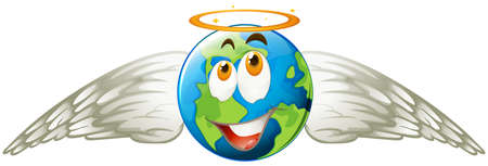 heaven on earth: Earth with angel wings illustration