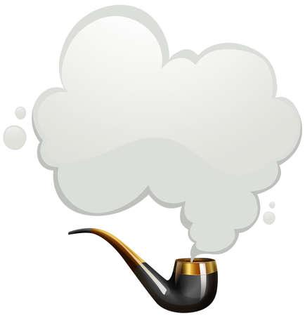 pijp roken: Rokende pijp met rook illustratie Stock Illustratie