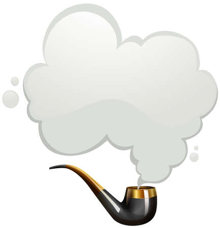 Smoking pipe with smoke illustration