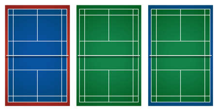 hard court: Three designs of tennis court illustration
