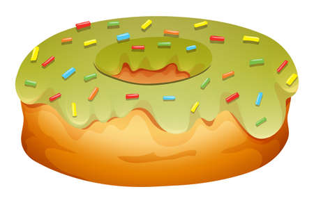 deep fried: Doughnut with green frosting illustration