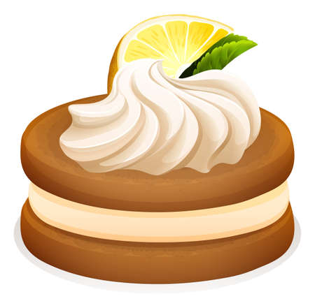 teat: Cookie with lemon and cream illustration