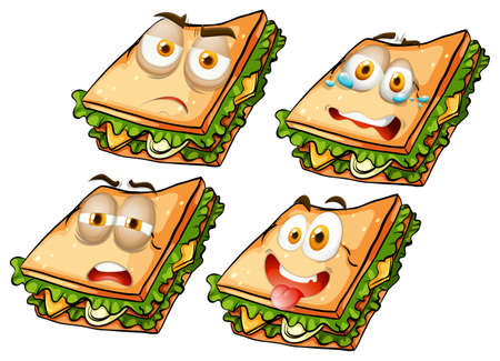 sandwich white background: Sandwich with facial expressions illustration