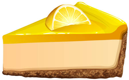 pie: Lemon cheesecake on white illustration