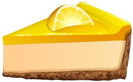 porcion de torta: Limón pastel de queso en la ilustración blanca