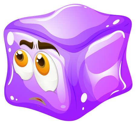 ice cubes: Purple cube with sad face illustration