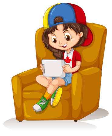 child sitting: Little girl with tablet sitting on chair illustration