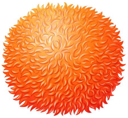 cartoon orange: Orange fluffy ball on white illustration