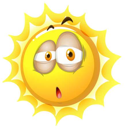 sleepy: Sleepy face on the sun illustration