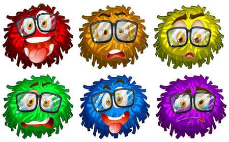 fluffy: Facial expressions on pompom illustration Illustration