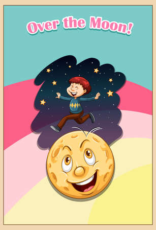 funny pictures: Old saying over the moon illustration