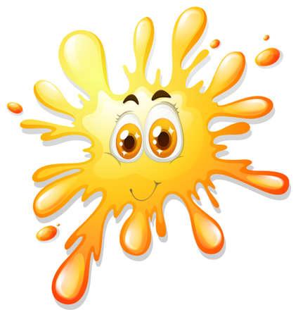 face illustration: Happy face on yellow splash illustration
